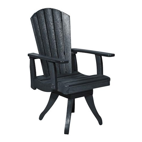 C.R. Plastic Products Adirondack - Black Swivel Dining Arm Chair