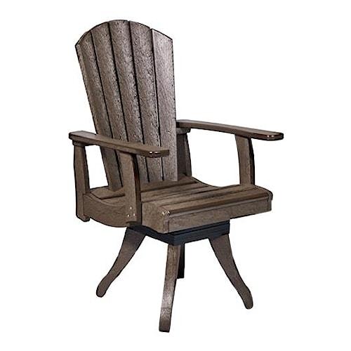 C.R. Plastic Products Adirondack - Chocolate Swivel Dining Arm Chair