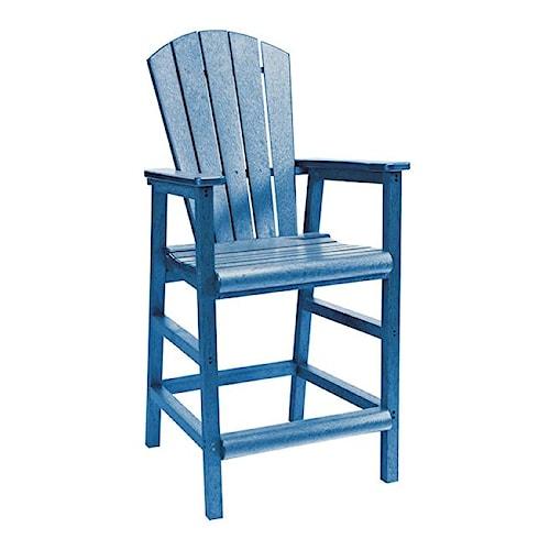 C.R. Plastic Products Adirondack - Blue Pub Pedestal Chair