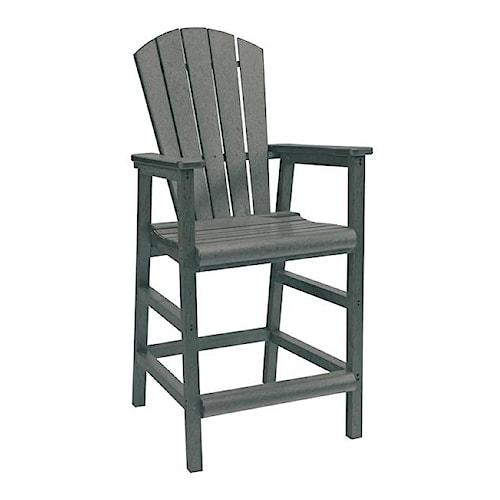 C.R. Plastic Products Adirondack - Slate Pub Pedestal Chair