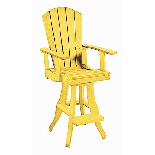 C.R. Plastic Products Adirondack - Yellow Swivel Arm Pub Chair