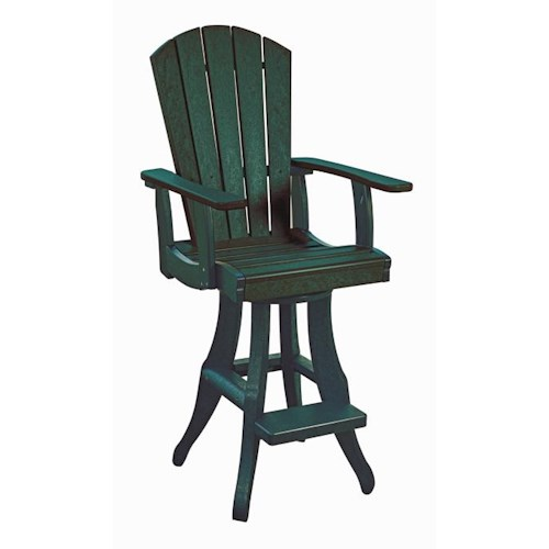C.R. Plastic Products Adirondack - Green Swivel Arm Pub Chair