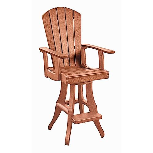 C.R. Plastic Products Adirondack - Cedar Swivel Arm Pub Chair