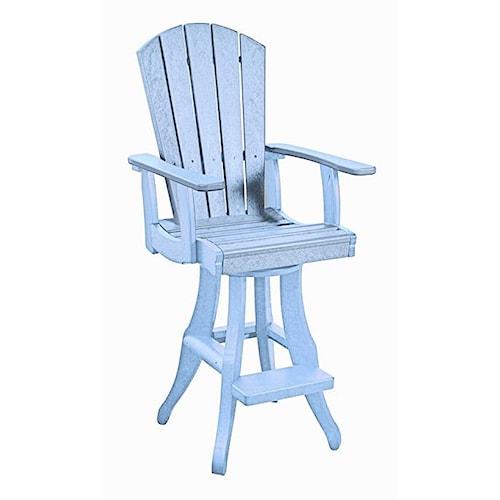 C.R. Plastic Products Adirondack - Sky Blue Swivel Arm Pub Chair