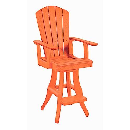 C.R. Plastic Products Adirondack - Orange Swivel Arm Pub Chair