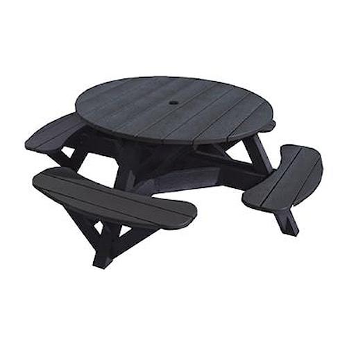 C.R. Plastic Products Adirondack - Black Picnic Table