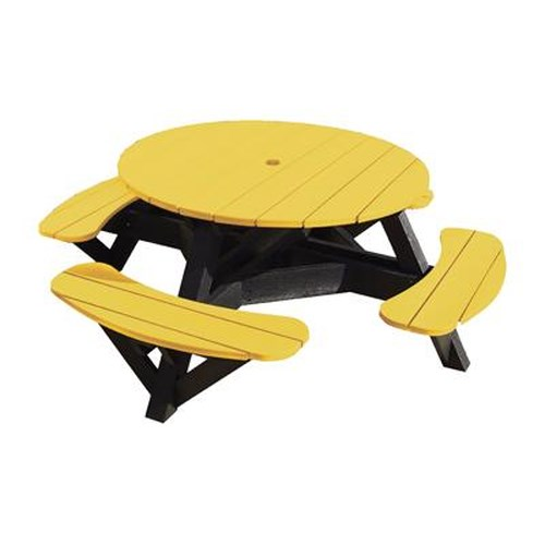 C.R. Plastic Products Adirondack - Yellow Picnic Table w/ Interchangeable Top
