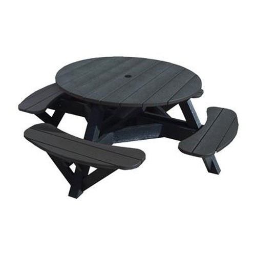 C.R. Plastic Products Adirondack - Black Picnic Table w/ Interchangeable Top