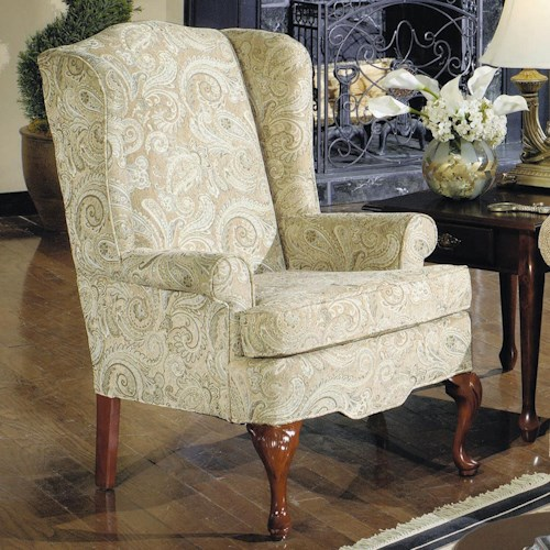 Cozy Life Eloisa Traditional Wing Chair with Rolled Arms
