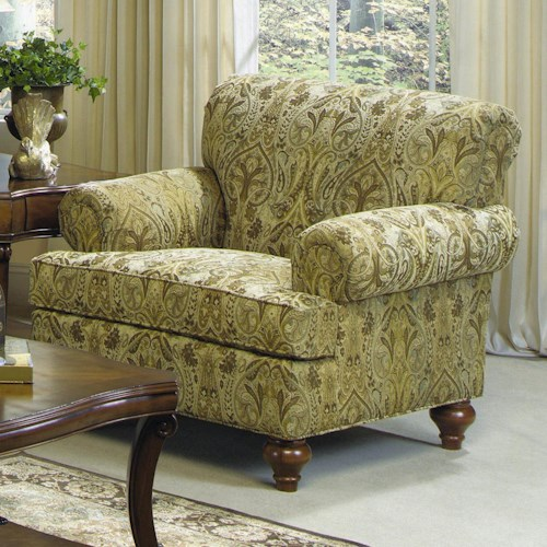 Cozy Life Giacomo Traditional Upholstered Chair with Turned Wood Legs