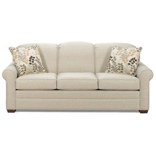 Cozy Life Shannon Casual Stationary Sofa with Sock Arms and Wood Feet