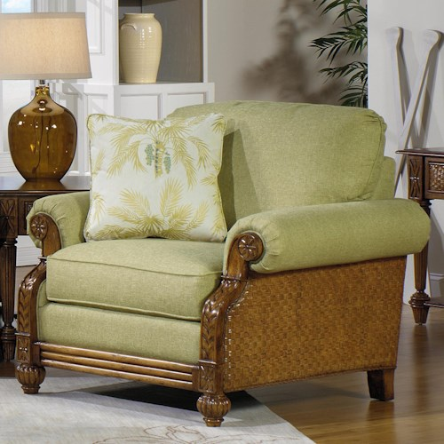 Craftmaster 722950 Casual Upholstered Chair with Carved Wood Details
