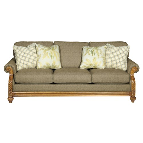 Cozy Life 722950 Casual Sofa Sleeper with Exposed Wood Carved Details