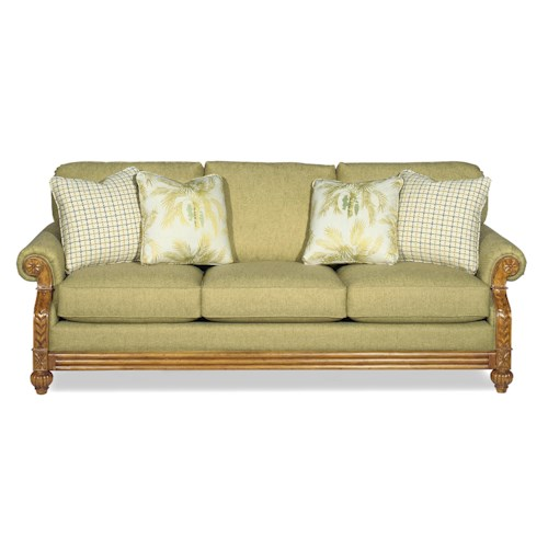 Craftmaster 722950 Casual Sofa with Exposed Wood Carved Details