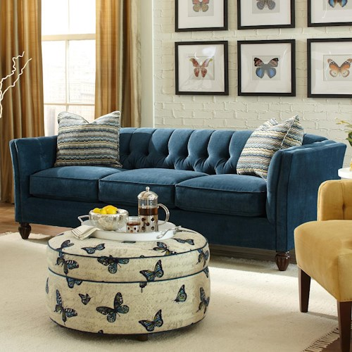 Craftmaster 724450 Transitional Chesterfield Sofa with Button-Tufting