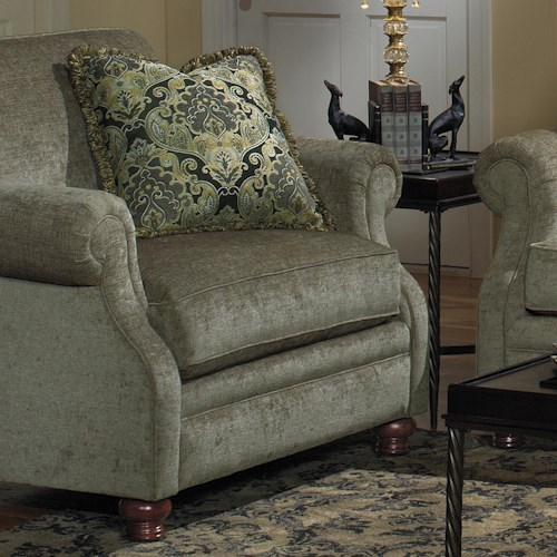 Cozy Life 7266 Transitional Upholstered Chair with Exposed Wood Feet