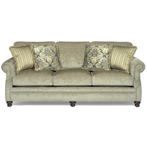 Hickory Craft 7266 Transitional Stationary Sofa With Exposed Wood Feet Godby Home Furnishings