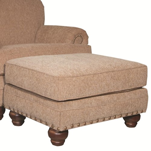Craftmaster 728150 Traditional Ottoman with Nailhead Studs