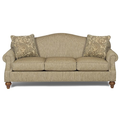 Cozy Life 728300 Traditional Camelback Sofa with Turned Legs
