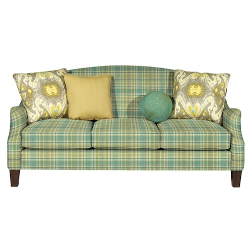 Cozy Life Essence Transitional Camel-Back Sofa with Flair-Tapered Arms and Medium Pewter Nails
