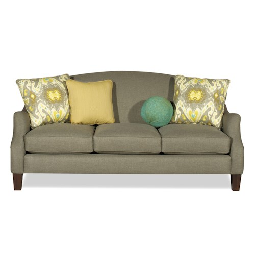 Craftmaster Raphael Transitional Camel-Back Sofa with Flair-Tapered Arms and Medium Pewter Nails