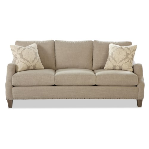 Craftmaster 729300 Contemporary Sofa with Serpentine Curved Track Arms and Vintage Tack Nailheads
