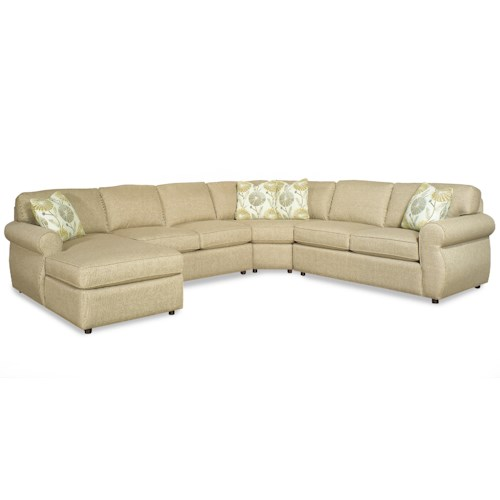 Cozy Life 730100 Transitional Four Piece Sectional Sofa with Rolled Arms