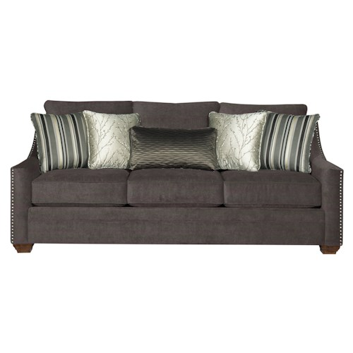Cozy Life 733500 Casual Fabric Sofa with Track Arms and Nail Head Trim