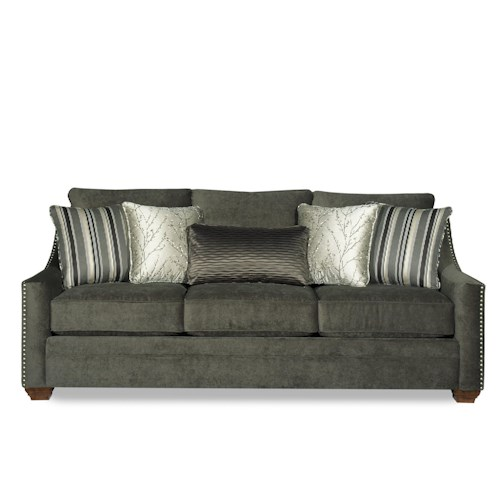Craftmaster 733500 Casual Fabric Sofa with Track Arms and Nail Head Trim
