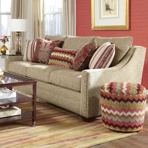 Craftmaster 733600 Transitional Sofa with Oversized Nailheads and Toss Pillows
