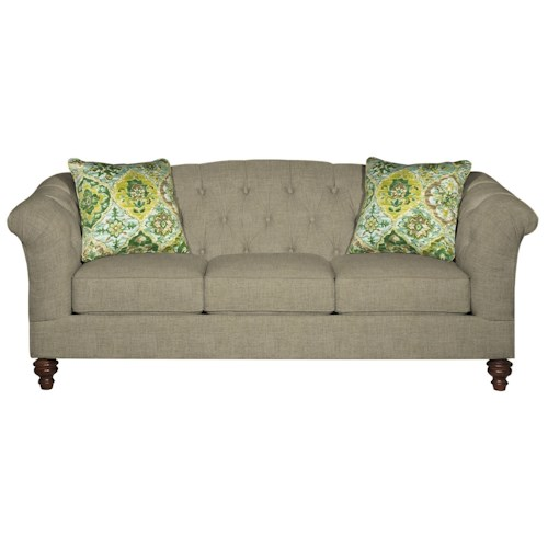 Cozy Life 737700 Button-Tufted Sofa with Flared and Pleated Arms