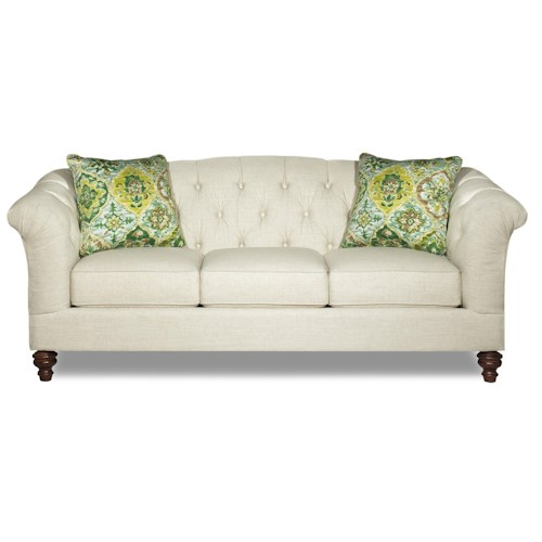 Hickory Craft 737700 Button Tufted Sofa With Flared And Pleated Arms Godby Home Furnishings
