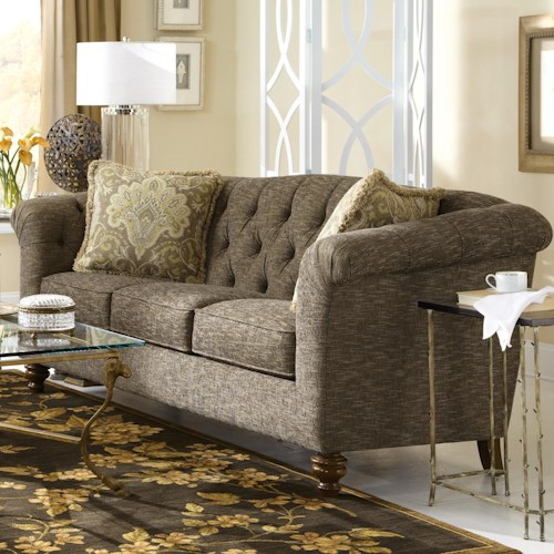 Craftmaster 737700 Button-Tufted Sofa with Flared and Pleated Arms