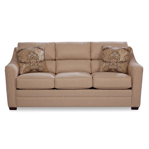 Craftmaster 740100 Contemporary Sofa with Plush Bustle Back Cushions
