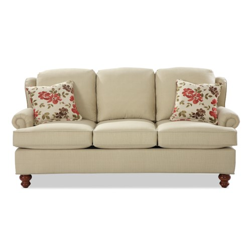 Craftmaster 740200 Traditional Wing Back Sofa with Turned Wood Feet
