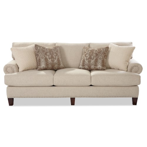 Craftmaster 740500 Transitional Sofa with Rolled Panel Arms and Vintage Tack Nailheads