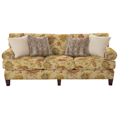 Cozy Life 740500 Transitional Sofa with Rolled Panel Arms and Vintage Tack Nailheads