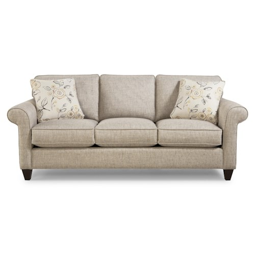 Cozy Life Jarvis Transitional Sleeper Sofa with Sock-Rolled Arms and Memoryfoam Mattress