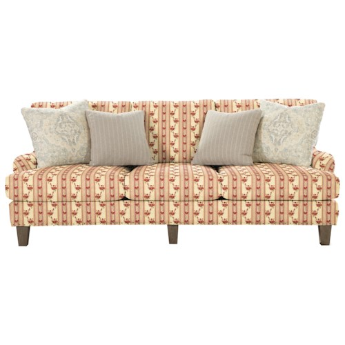 Cozy Life 742900 Transitional English-Arm Sofa with Vintage Tack Trim