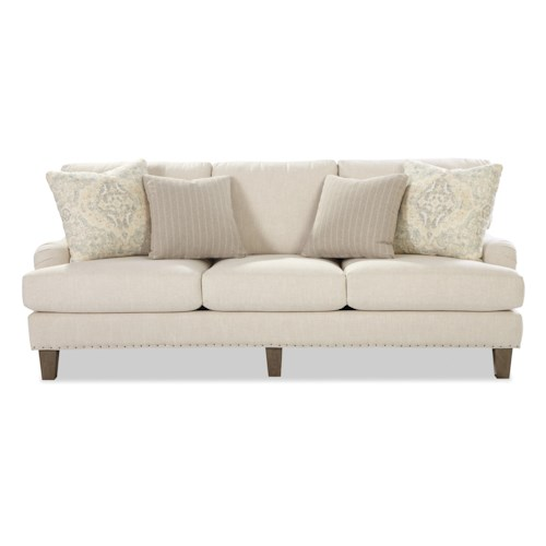 Craftmaster 742900 Transitional English-Arm Sofa with Vintage Tack Trim