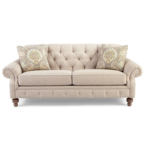 Craftmaster 746300 Traditional Button-Tufted Sofa with Wide Flared Arms