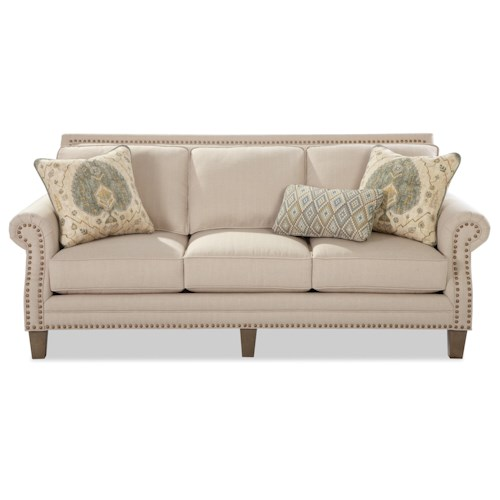 Craftmaster 747 Transitional Sofa with Brass Nailheads