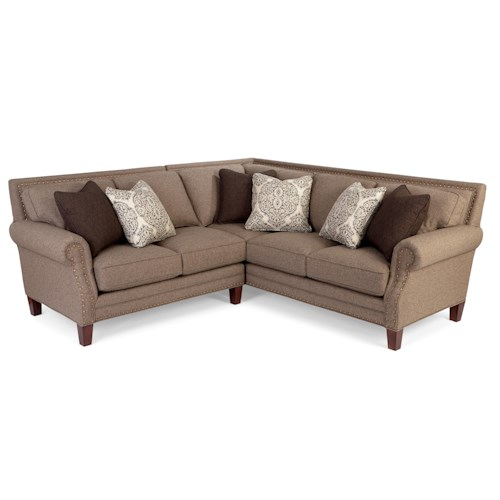 Cozy Life 747 Two Piece Sectional Sofa with Rolled Arms and Light Brass Nailheads