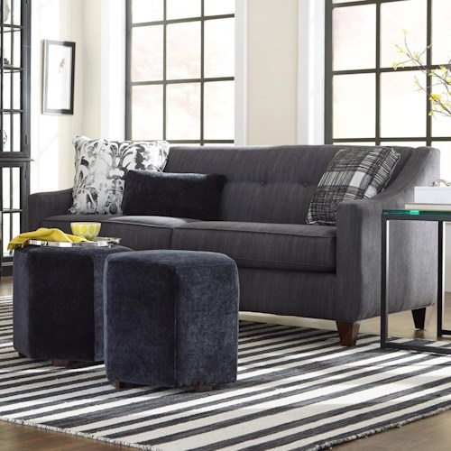 Craftmaster 748700 Contemporary Sleeper Sofa with Sloped Arms and Button Tufting