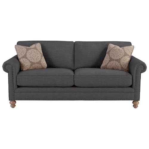 Cozy Life 749 Traditional Sofa with Rolled Arms and Vintage Tack Nailheads