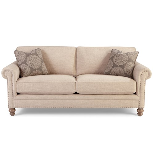 Craftmaster 749 Traditional Sofa with Rolled Arms and Vintage Tack Nailheads