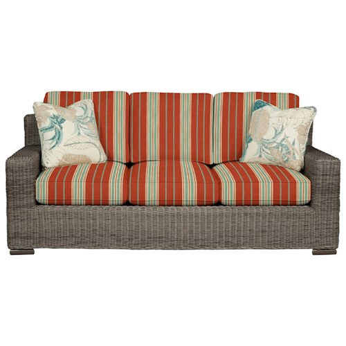 Cozy Life 750700 Coastal Wicker-Framed Sofa Sleeper with Loose Cushions