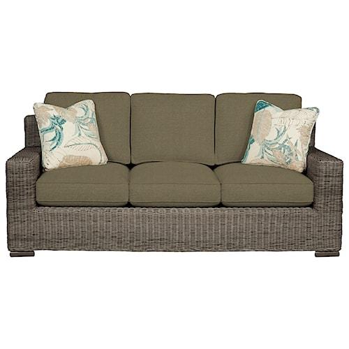 Cozy Life 750700 Coastal Wicker-Framed Sofa Sleeper with Loose Cushions