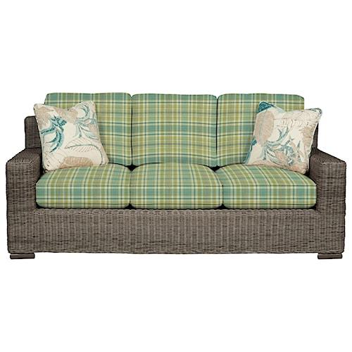 Cozy Life 750700 Coastal Wicker-Framed Sofa with Loose Cushions