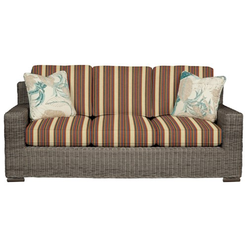 Cozy Life 750700 Coastal Wicker-Framed Sofa with Loose Cushions